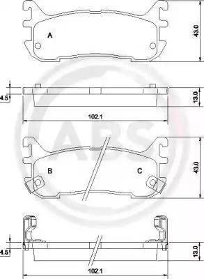 A.B.S. 36927 - Тормозные колодки, дисковые sparts.com.ua