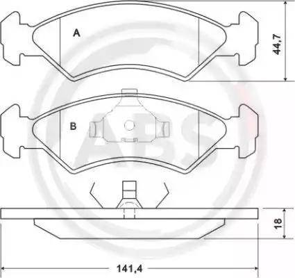 A.B.S. 36707 - Тормозные колодки, дисковые sparts.com.ua