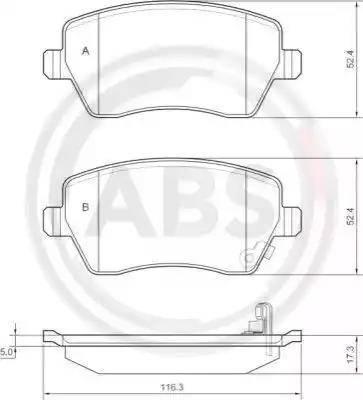 A.B.S. 37478 - Тормозные колодки, дисковые sparts.com.ua