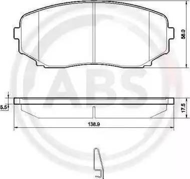 A.B.S. 37643 - Тормозные колодки, дисковые sparts.com.ua