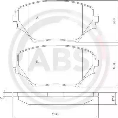 A.B.S. 37230 - Тормозные колодки, дисковые sparts.com.ua
