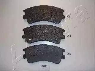 Ashika 50-03-307 - Тормозные колодки, дисковые sparts.com.ua