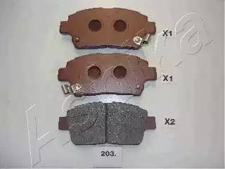 Ashika 50-02-203 - Тормозные колодки, дисковые sparts.com.ua
