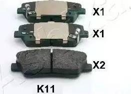 Ashika 51-0K-K11 - Тормозные колодки, дисковые sparts.com.ua