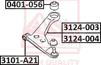 ASVA 3101-A21 - Сайлентблок, рычаг подвески колеса sparts.com.ua