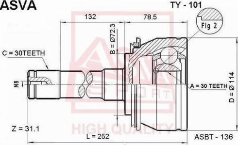 ASVA TY-101 - Шарнирный комплект, ШРУС, приводной вал sparts.com.ua