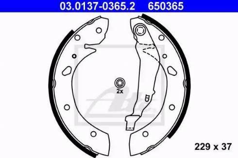 ATE 03.0137-0365.2 - Комплект тормозных башмаков, барабанные sparts.com.ua