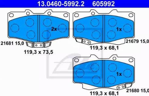 ATE 13.0460-5992.2 - Тормозные колодки, дисковые sparts.com.ua