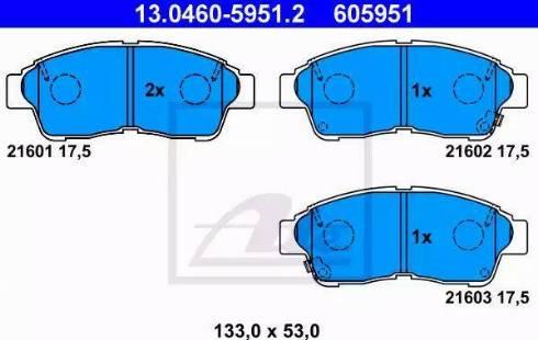 ATE 13.0460-5951.2 - Тормозные колодки, дисковые sparts.com.ua