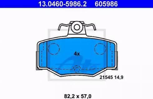 ATE 13.0460-5986.2 - Тормозные колодки, дисковые sparts.com.ua