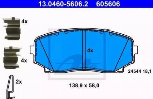 ATE 13.0460-5606.2 - Тормозные колодки, дисковые sparts.com.ua
