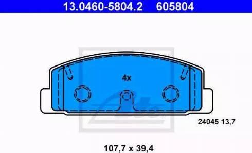 ATE 13.0460-5804.2 - Тормозные колодки, дисковые sparts.com.ua