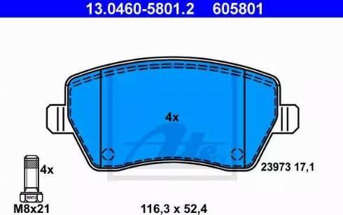 ATE 13.0460-5801.2 - Тормозные колодки, дисковые sparts.com.ua