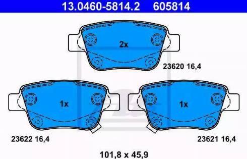 ATE 13.0460-5814.2 - Тормозные колодки, дисковые sparts.com.ua
