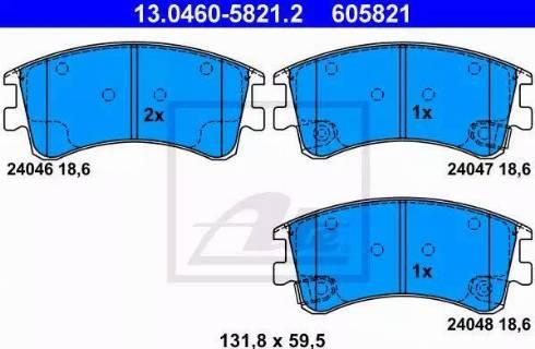 ATE 13.0460-5821.2 - Тормозные колодки, дисковые sparts.com.ua