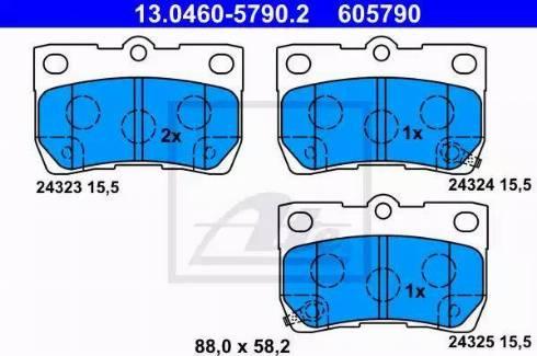 ATE 13.0460-5790.2 - Тормозные колодки, дисковые sparts.com.ua