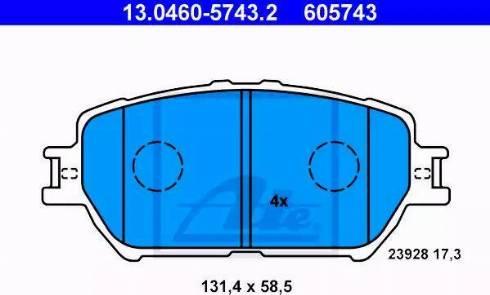 ATE 13.0460-5743.2 - Тормозные колодки, дисковые sparts.com.ua