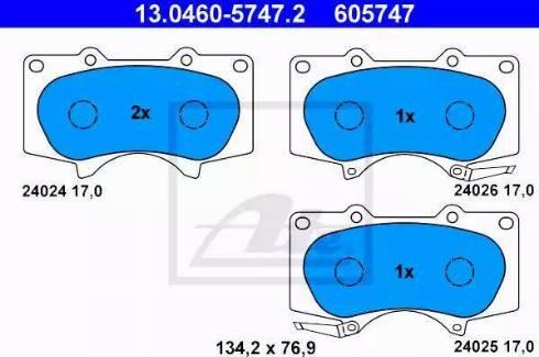 ATE 13.0460-5747.2 - Тормозные колодки, дисковые sparts.com.ua