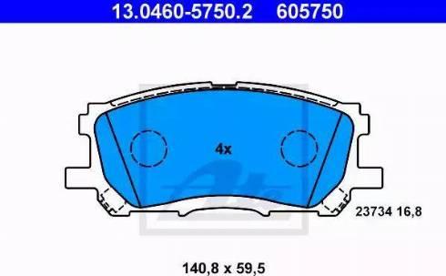 ATE 13.0460-5750.2 - Тормозные колодки, дисковые sparts.com.ua
