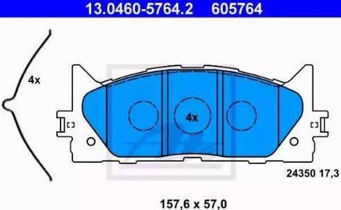 ATE 13.0460-5764.2 - Тормозные колодки, дисковые sparts.com.ua