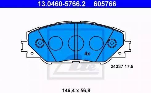 ATE 13.0460-5766.2 - Тормозные колодки, дисковые sparts.com.ua