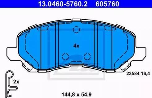 ATE 13.0460-5760.2 - Тормозные колодки, дисковые sparts.com.ua