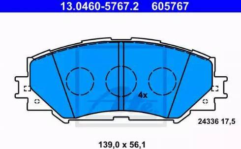 ATE 13.0460-5767.2 - Тормозные колодки, дисковые sparts.com.ua