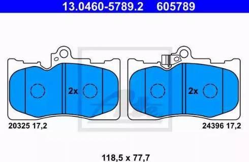 ATE 13.0460-5789.2 - Тормозные колодки, дисковые sparts.com.ua