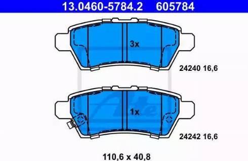 ATE 13.0460-5784.2 - Тормозные колодки, дисковые sparts.com.ua