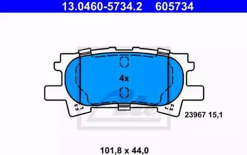 ATE 13.0460-5734.2 - Тормозные колодки, дисковые sparts.com.ua