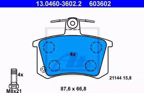 ATE 13.0460-3602.2 - Тормозные колодки, дисковые sparts.com.ua