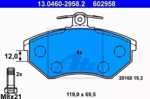 ATE 13.0460-2958.2 - Тормозные колодки, дисковые sparts.com.ua