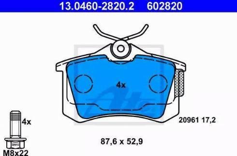 ATE 13.0460-2820.2 - Тормозные колодки, дисковые sparts.com.ua