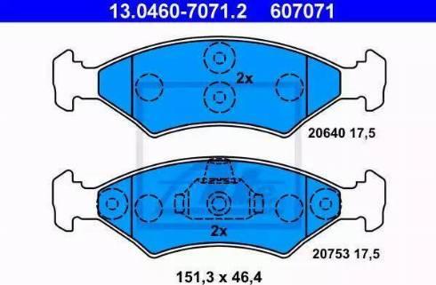 ATE 13.0460-7071.2 - Тормозные колодки, дисковые sparts.com.ua