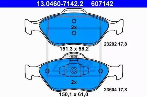 ATE 13.0460-7142.2 - Тормозные колодки, дисковые sparts.com.ua