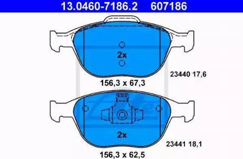 ATE 13.0460-7186.2 - Тормозные колодки, дисковые sparts.com.ua