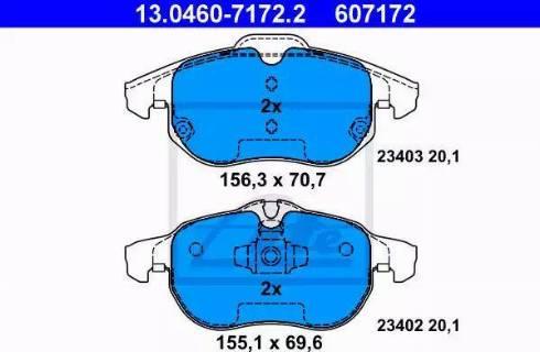 ATE 13.0460-7172.2 - Тормозные колодки, дисковые sparts.com.ua