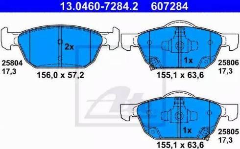 ATE 13.0460-7284.2 - Тормозные колодки, дисковые sparts.com.ua