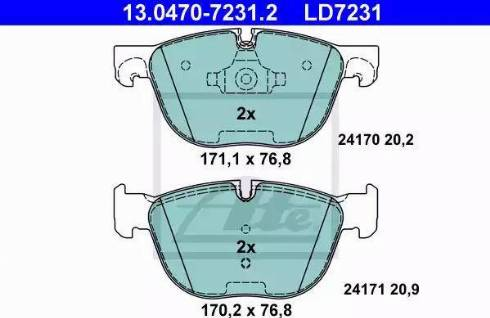ATE 13.0470-7231.2 - Тормозные колодки, дисковые sparts.com.ua