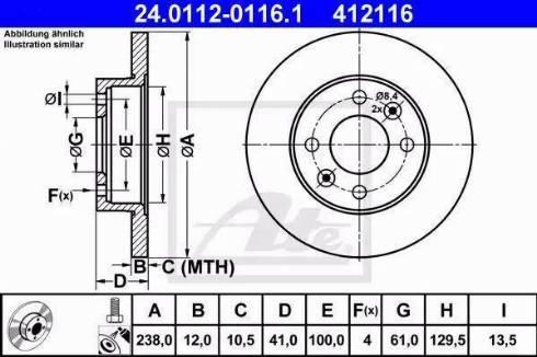 ATE 24.0112-0116.1 - Тормозной диск sparts.com.ua