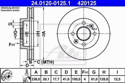 ATE 24.0120-0125.1 - Тормозной диск sparts.com.ua