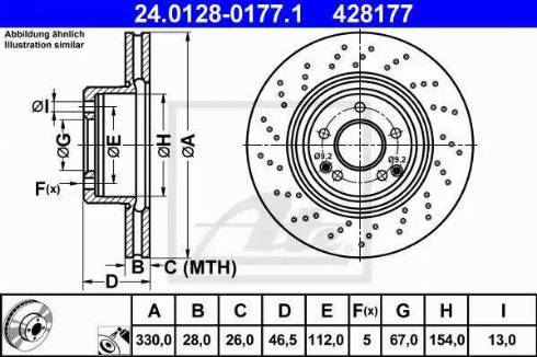 ATE 24.0128-0177.1 - Тормозной диск sparts.com.ua