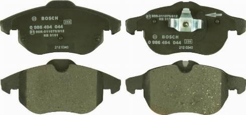 BOSCH 0 986 494 044 - Тормозные колодки, дисковые sparts.com.ua