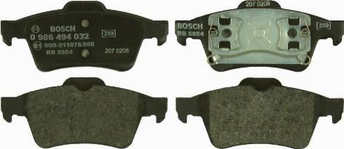 BOSCH 0 986 494 032 - Тормозные колодки, дисковые sparts.com.ua