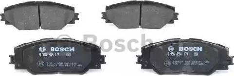 BOSCH 0 986 494 174 - Тормозные колодки, дисковые sparts.com.ua