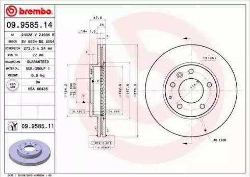 Brembo 09.9585.14 - Тормозной диск sparts.com.ua