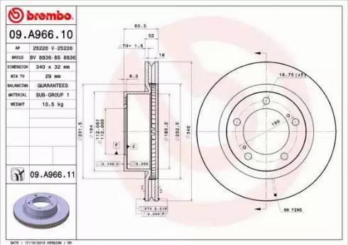 Brembo 09.A966.11 - Тормозной диск sparts.com.ua