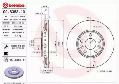 Brembo 09.B353.10 - Тормозной диск sparts.com.ua