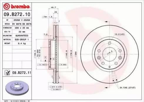 Brembo 09.B272.10 - Тормозной диск sparts.com.ua