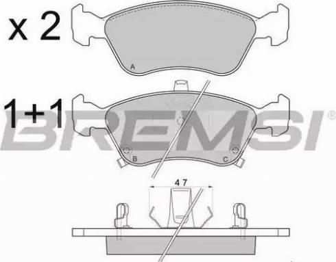 Bremsi BP2814 - Тормозные колодки, дисковые sparts.com.ua